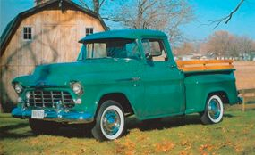 This 1956 Chevrolet Series 3100 pickup carries the optional 265-cid V-8, rated at 155 horsepower.