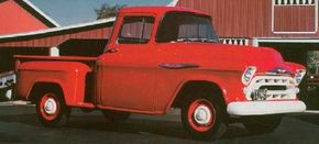 The 1957 Chevrolet Cameo Carrier gained extra trim and accent paint below the rear-fender crease line.