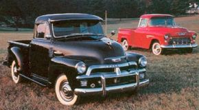 """Chevy started the 1955 model year by continuing its """"Advance-Design"""" truck (left). It's """"Task Force"""" successor (right) appeared March 25, 1955."""