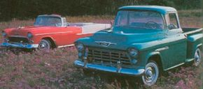 Task Force trucks bore a strong visual kinship with Chevrolet's 1955 car models, including the Bel Air.
