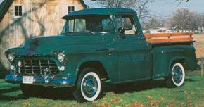 Visible changes common to 1956 Chevrolet trucks like this 3100 pickup were held to shuffled badges.