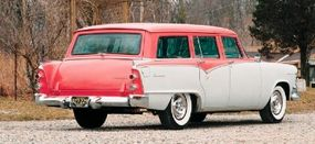 The two-tone exterior of this 1955 Dodge Royal Sierra Custom station wagon is in keeping with the 'Flair Fashion' styling.