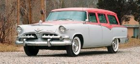 The dramatic new styling of Virgil Exner is evident in the 1955 Dodge Royal Sierra Custom station wagon. See more classic car pictures.