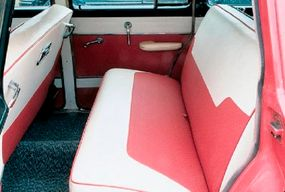 The two-tone theme is carried into the interior of this 1955 Dodge Royal Sierra Custom station wagon.