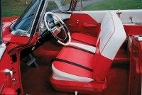 The exterior color scheme is carried into the interior styling of the 1955 DeSoto Firedome.