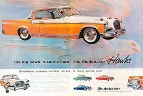 The 1956 Hawk line was heavily advertised in popular magazines with splashy two-page spreads like this.