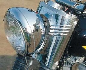 The KH carried a chrome upper fork cover.