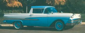 The Ford Ranchero was America's first modern car-pickup hybrid. It was introduced for 1957. Pictured is the facelifted 1958 Ford Ranchero.                              See more classic truck pictures.