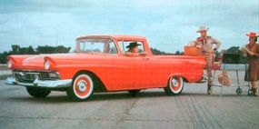 A late styling buck of the 1957 Ranchero accurately reflects the production vehicle except for the 1955-1956 hubcaps and Y-8 emblem.