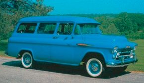 This 1957 Chevrolet 3106 Suburban Carryall sports such options as a V-8 egnine, chrome grill and front bumper, and chromed windsplits on the hood. See more classic truck pictures.
