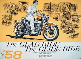An advertisement for the 1958 Harley-Davidson FL Duo-Glide motorcycle.