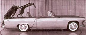 This 1954 Mark II experiment shows a retractable hardtop, briefly considered as a 1958 body style.