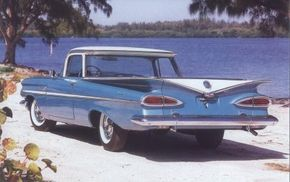 """The """"batwing"""" fins and """"cat's eye"""" taillights of Chevrolet passenger cars were carried through to the 1959 Chevrolet El Camino."""