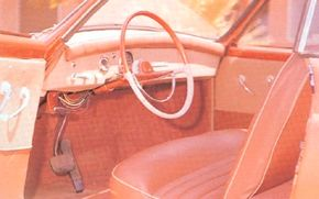 About 12 Charles Townabout concept car prototypes were built. This one had a three-place bench seat; dual buckets were planned for production.