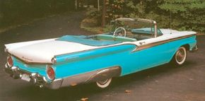 The award-winning styling of the 1959 Ford Galaxie looked conservative next to the batwing 1959 Chevrolet, but Ford sold nose to nose with Chevy that year.