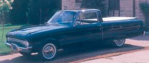 Ford switched its popular car-pickup Ranchero to the new compact Falcon line for 1960, with great success. Pictured is a 1961 Ford Falcon Ranchero. See more classic truck pictures.