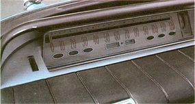 """The 1960 Buick Electra dashboard panel of speedometer, odometer, and """"idiot lights"""" is actually a mirror reflecting images from horizontal instruments in front of it."""