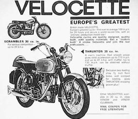 This mid-1960s ad claimed Velocette motorcycles could do 130 mph by removing the muffler.