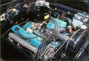 Fitted with a four-barrel carb and dual exhausts, the 361-cubic-inch V-8 engine made 305 horsepower.