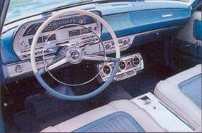 A row of pushbuttons operated the Polara 500's optional TorqueFlite automatic transmission.