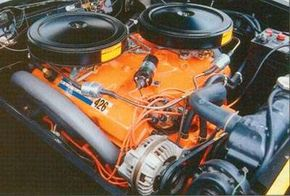 """A new 426-cubic-inch """"Ramcharger"""" engine made at least 415 horsepower with dual carburetion."""