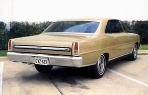The 1967 Nova SS was, as before, Chevy II's sportiest model. This Butternut Yellow hardtop has the 327 V-8 and four-speed transmission.