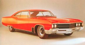 The 1967 Wildcat was reskinned, with an altered grille and sculptured side style line.