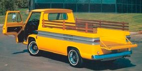 In addition to the novel side loading ramp, the 1962 Corvair Rampside pickups had a conventional tailgate above the rear-mounted engine.
