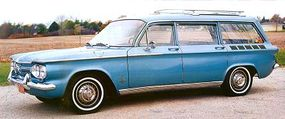 This blue Chevy Corvair Monza station wagon is among the few surviving 1962s.