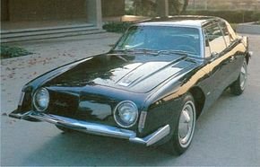 The 1963 Studebaker Avanti boasted a fiberglass body with a rakish design.