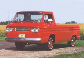 The 1963 Chevrolet Corvair 95 Rampside Pickup offered a 105-inch truck bed. See more classic car pictures.