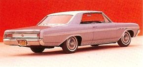 The compact Buick Skylark grew to mid-size dimensions for 1964, and engines followed suit. Standard was a 155 bhp 225-cid V-6; optional was a cast-iron V-8 of 300 cid with 210/250 bhp. See more classic car pictures.