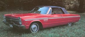 Plymouth's full-size line was redesigned for 1965 with stacked headlights and straight-edge styling on a longer wheelbase.