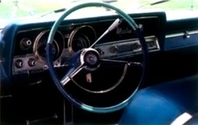 The Marlin borrowed its dashboard from the Ambassador (above), with the badge and fish emblem prominently displayed.