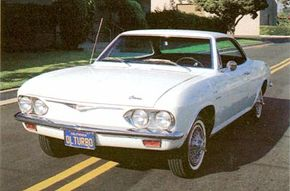 The turbocharged version of the 1965 Chevrolet Corvair Corsa boasted 180 horsepower.