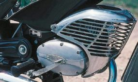 The face shield for the 50-cc engine looked medieval.