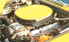 With triple two-barrel carbs, the 1972 Jensen Interceptor SP's Chrysler 440 V-8 packed 385 horsepower.