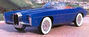 The 2-passenger 1966 Exner Bugatti Roadster by Ghia was designed by Virgil Exner with a Bugatti chassis and produced by Ghia. See more classic car pictures.