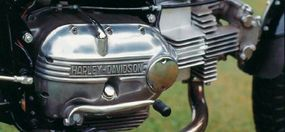 """The crankcase cover read """"Harley-Davidson,"""" but the overhead-cam single was built by Aermacchi of Italy and came with a right-side shifter."""