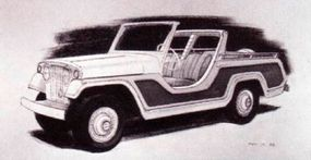 By October 17, 1966, the date on the above rendering, the basic shape of the Jeepster Commando had been decided.