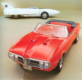 The 1967 Firebird 400 convertible is shown here with a 1954 show car that bore the same name.