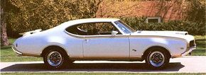 The 1969 Hurst/Olds wore more flair, with huge (and functional) air scoops and a prominent rear spoiler.