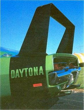 A close-up of the 1969 Dodge Charger Daytona spoiler.