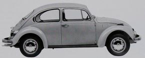 The 1971 Volkswagen Beetle adopted flow-through ventilation, as evidenced by eyebrow-shaped exhaust ports behind the rear window.