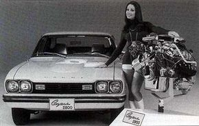 Displacement of the U.S. Capri V-6 grew to 2.8 liters for 1974, although horsepower slipped to 105.