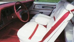 The Lipstick/White model was part of the 1976 Designer Series. The interior was leather and vinyl.