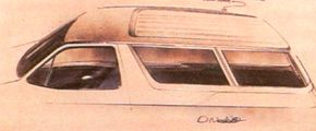 This early sketch of the Carousel minivan concept car's roof shows the indentation to allow a roof rack.
