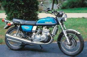 The 1975 Suzuki GT750 was a water-cooled two-stroke with good performance, but poorer sales than its two-stroke Kawasaki rivals. See more motorcycle pictures.