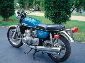 The radiator mounted ahead of the engine easily identified the 1975 Suzuki GT750 as liquid-cooled.