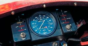 The speedometer was flanked by a bevy of warning lights -- but no tachometer.